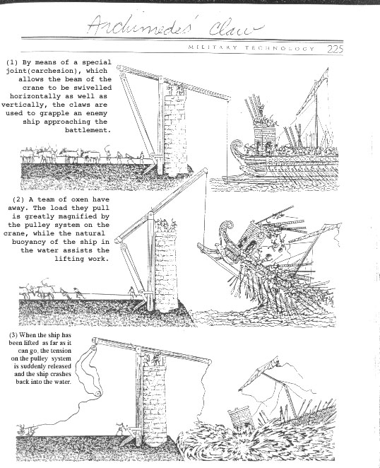 the claw of archimedes and other The siege of syracuse in 215 bce, the roman navy and army attacked syracuse and, to help the hard-pressed city folk, archimedes designed a number of war machines to fight back some of these titanic machines seem to have been stone throwers or large crossbows, but the ancient historians tell of other inventions.